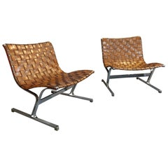 Pair of Italian Lounge Chairs by Ross Littell, Italy, circa 1965