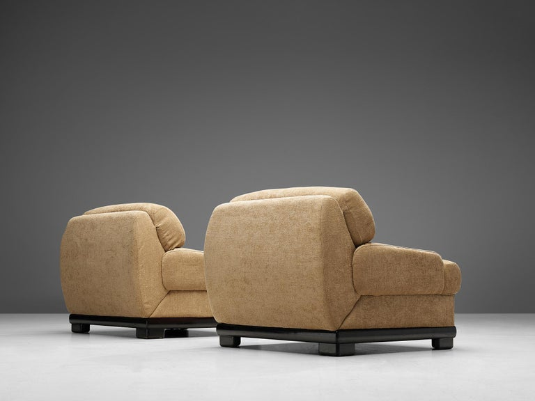 Fabric Pair of Italian Lounge Chairs For Sale