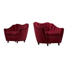 Pair of Italian Lounge Chairs in Bordeaux Velvet