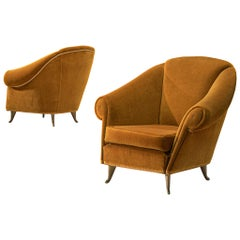 Pair of Italian Lounge Chairs in Bronze Orange Velvet