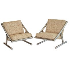 Pair of Italian Lounge Chairs in Chrome, 1970s