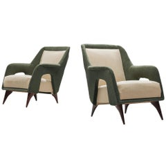 Pair of Italian Lounge Chairs in Forrest Green and Off-White Upholstery