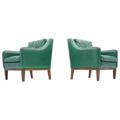 Pair of Italian Lounge Chairs in Green Leather, 1958