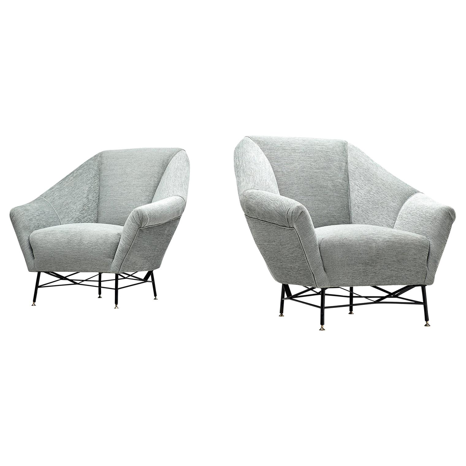 Pair of Italian Lounge Chairs in Grey Upholstery, 1950s