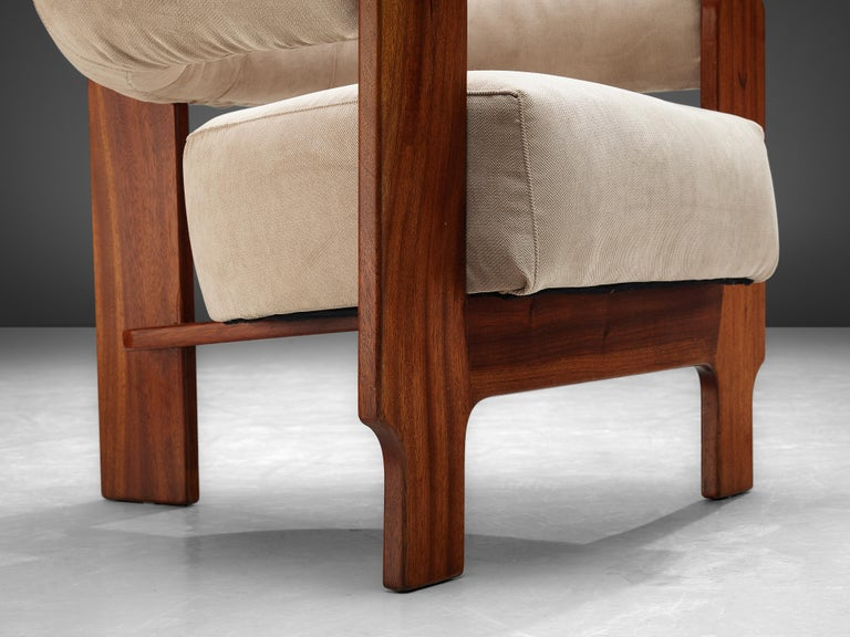 Pair of Italian Lounge Chairs in Mahogany For Sale 5