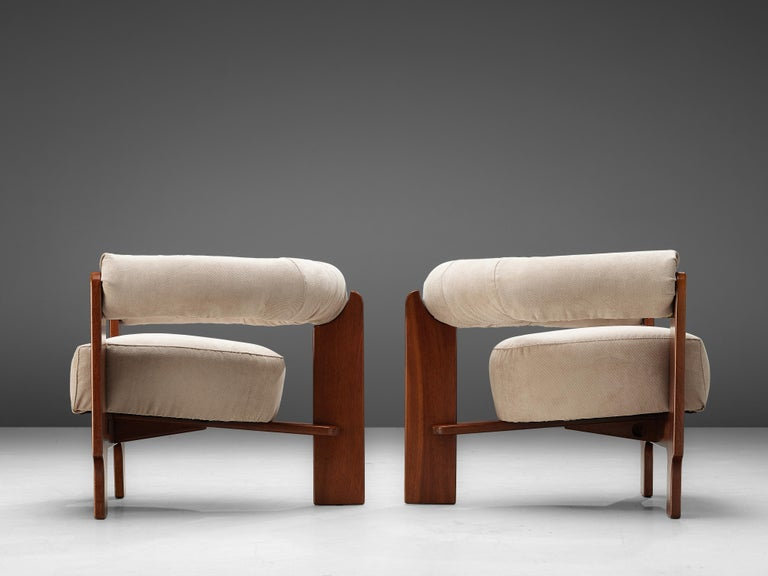 Pair of Italian Lounge Chairs in Mahogany For Sale 6