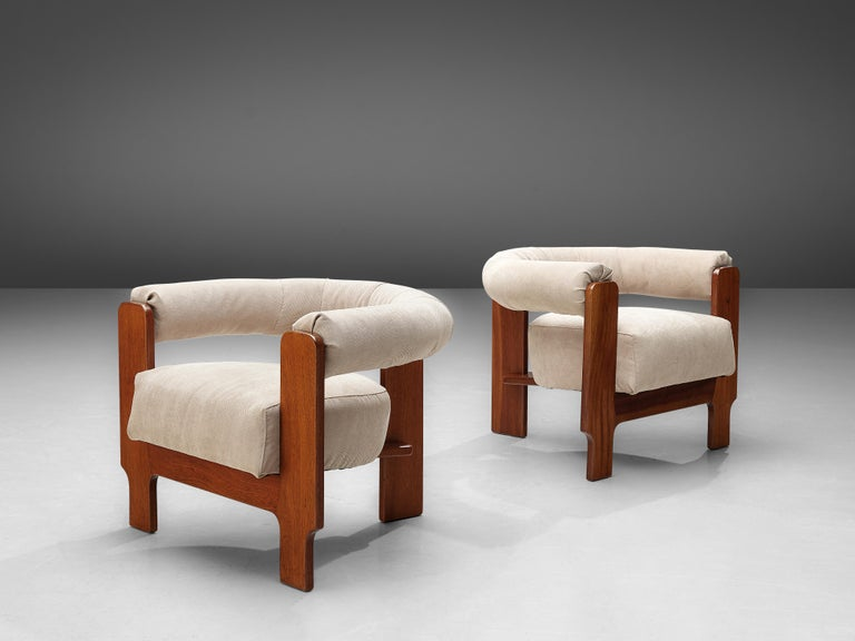 Pair of Italian Lounge Chairs in Mahogany In Good Condition For Sale In Waalwijk, NL