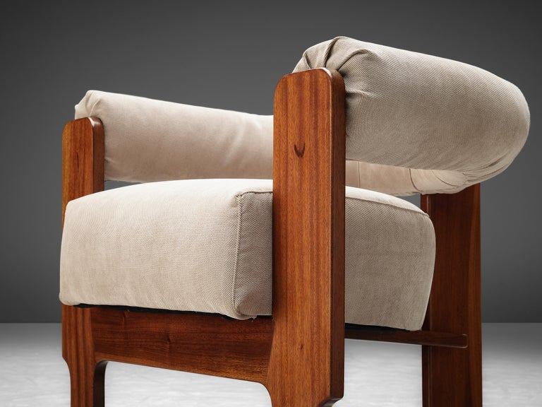 Fabric Pair of Italian Lounge Chairs in Mahogany For Sale