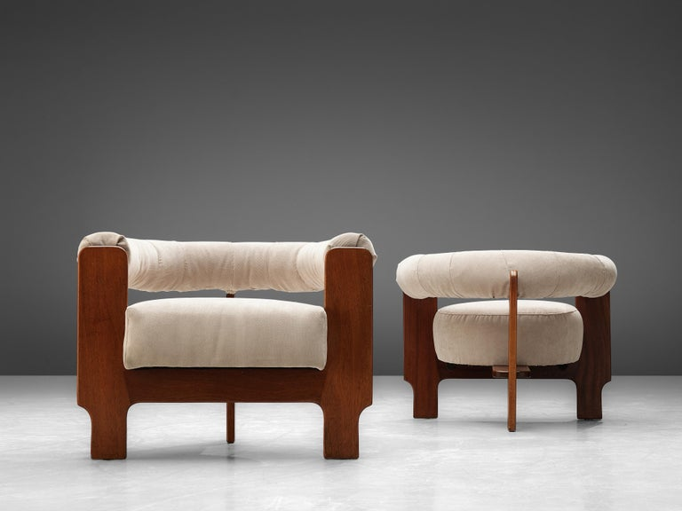 Pair of Italian Lounge Chairs in Mahogany For Sale 1