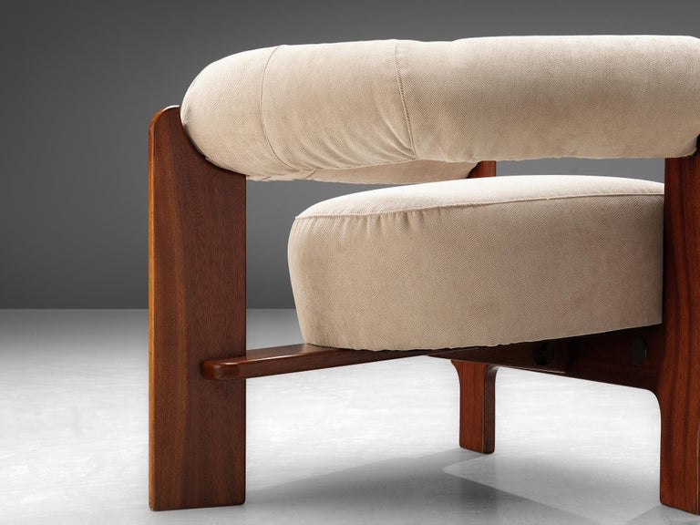 Pair of Italian Lounge Chairs in Mahogany For Sale 2