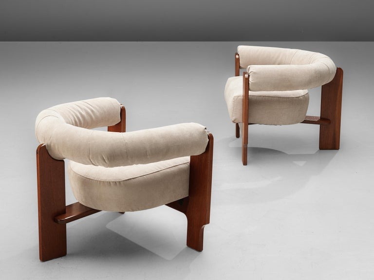 Pair of Italian Lounge Chairs in Mahogany For Sale 3
