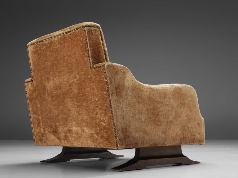 Mid-20th Century Pair of Italian Lounge Chairs in Velvet Upholstery For Sale