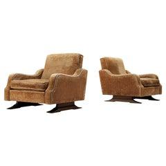 Pair of Italian Lounge Chairs in Velvet Upholstery
