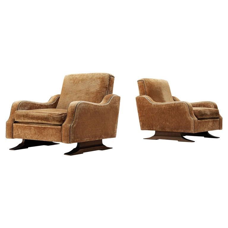 Pair of Italian Lounge Chairs in Velvet Upholstery For Sale