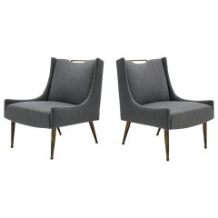 Pair of Italian Lounge Chairs, New Medium Gray Upholstery, Solid Brass Legs