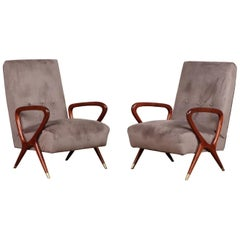 Pair of Italian Lounge Chairs Style of Gio Ponti