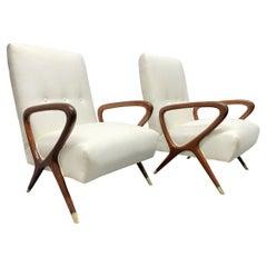Pair of Italian Lounge Chairs Style of Gio Ponti