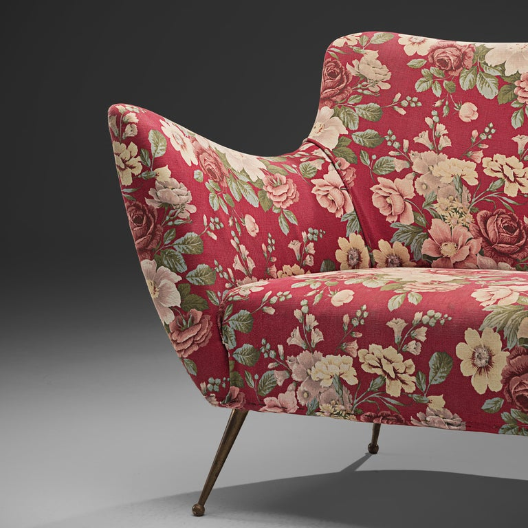 Mid-Century Modern Pair of Italian Lounge Chairs with Red Floral Upholstery For Sale