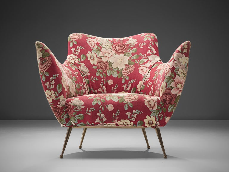 Mid-20th Century Pair of Italian Lounge Chairs with Red Floral Upholstery For Sale