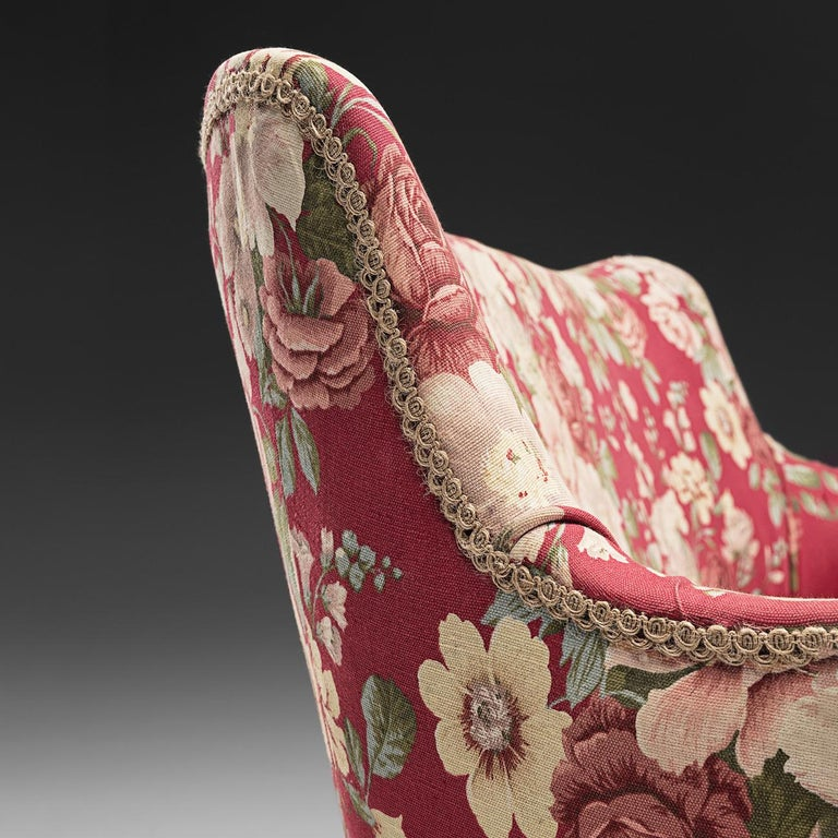 Brass Pair of Italian Lounge Chairs with Red Floral Upholstery For Sale