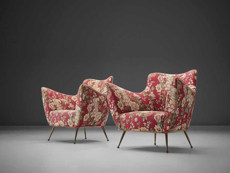 Pair of Italian Lounge Chairs with Red Floral Upholstery For Sale 1