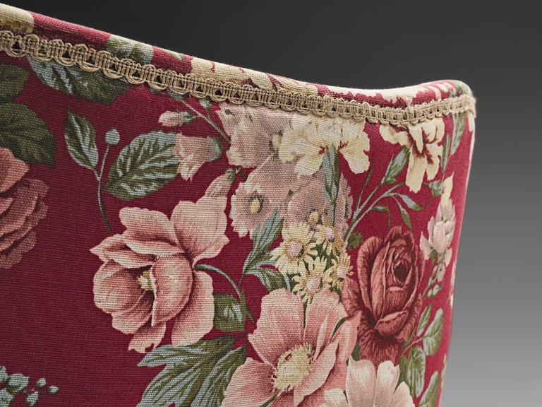 Pair of Italian Lounge Chairs with Red Floral Upholstery For Sale 2