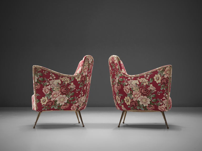 Pair of Italian Lounge Chairs with Red Floral Upholstery For Sale 3