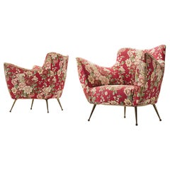 Pair of Italian Lounge Chairs with Red Floral Upholstery