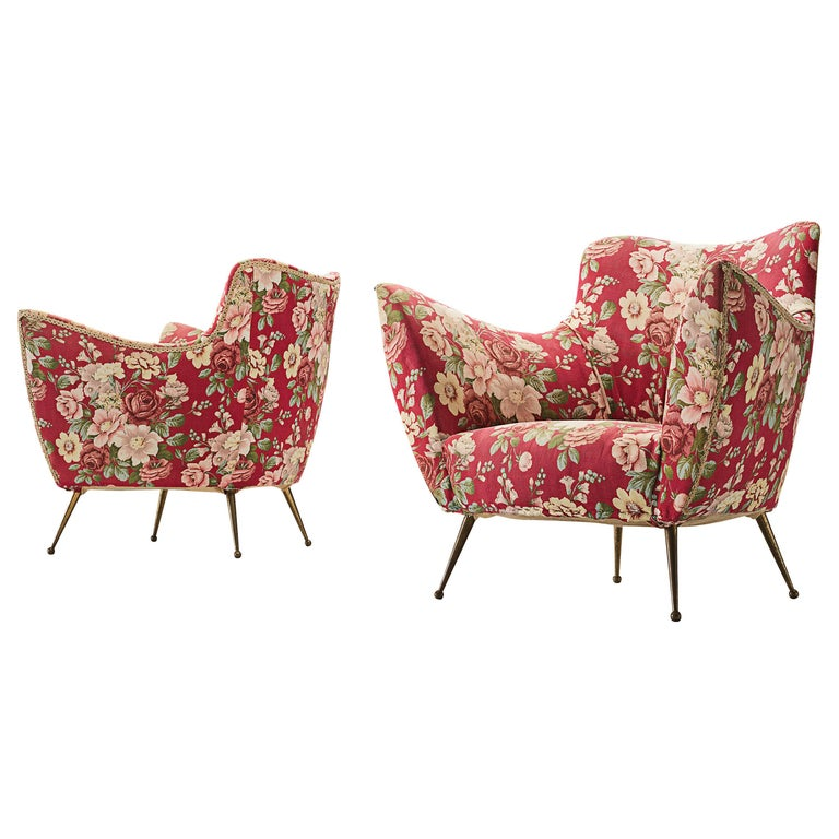Pair of Italian Lounge Chairs with Red Floral Upholstery For Sale