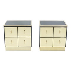 Pair of Italian Luciano Frigerio Black Lacquered Brass Nightstands Tables, 1970s