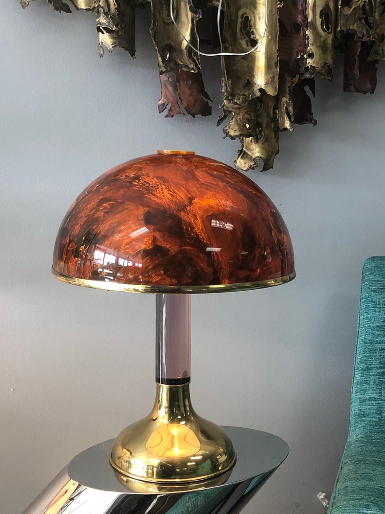 Pair of Italian Lucite and Faux Tortoise Table Lamps, 1970s For Sale 4