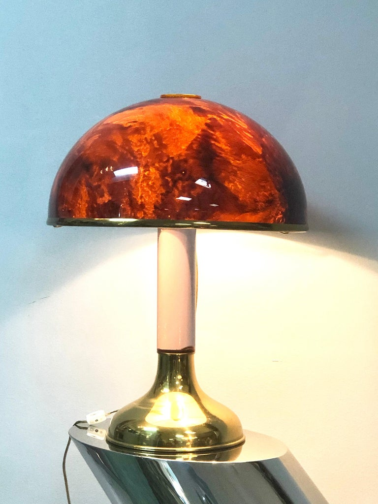 Modern Pair of Italian Lucite and Faux Tortoise Table Lamps, 1970s For Sale
