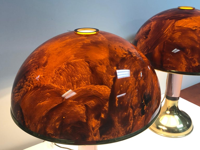 Brass Pair of Italian Lucite and Faux Tortoise Table Lamps, 1970s For Sale