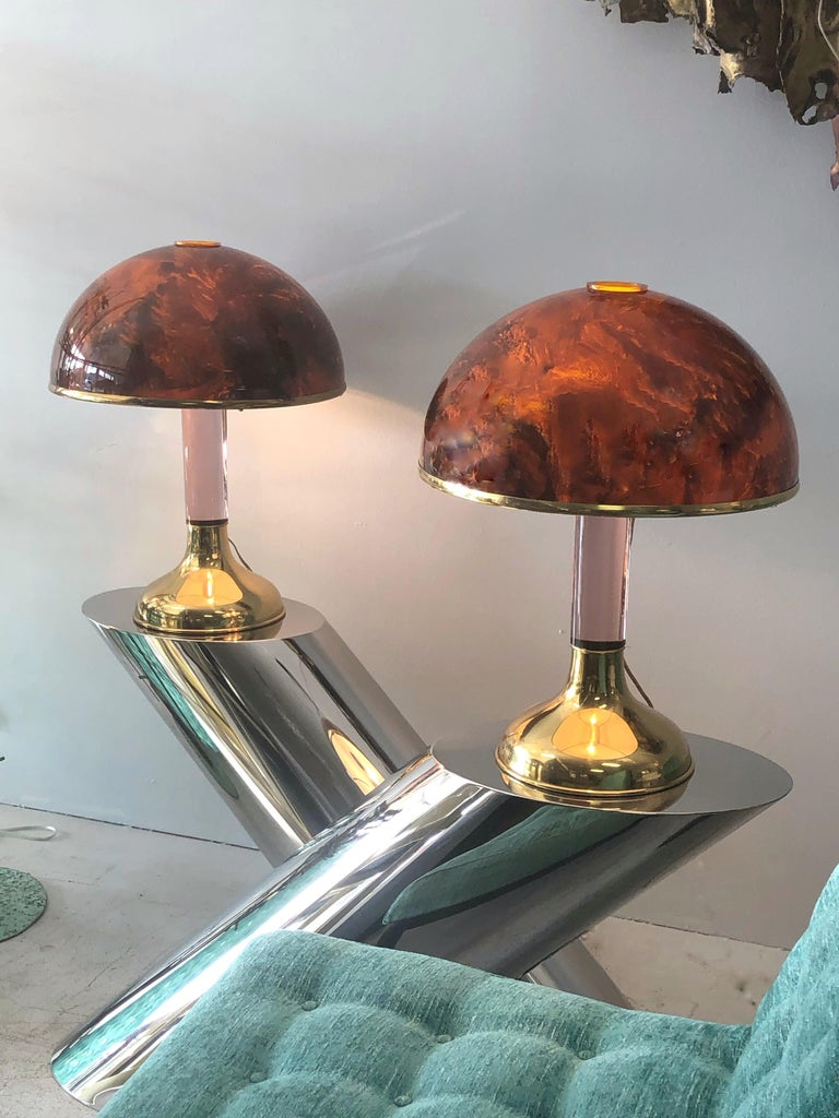 Pair of Italian Lucite and Faux Tortoise Table Lamps, 1970s For Sale 3
