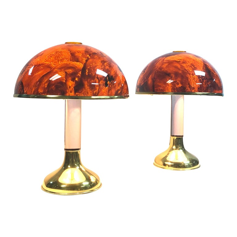 Pair of Italian Lucite and Faux Tortoise Table Lamps, 1970s For Sale