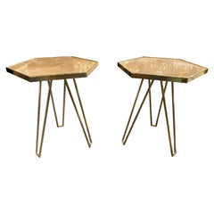Pair of Italian Made Brass and Onyx Hexagonal Side Tables