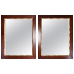 Pair of Italian Mahogany Gold Leaf Mirrors, 1920s