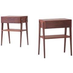 Pair of Italian Mahogany Wood Bedside Tables, 1950s