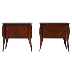 Pair of Italian Mahogany Wood Bedside Tables with Grey Glass Top, 1950s