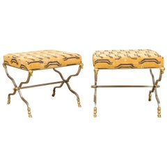 Pair of Italian Maison Jansen Style Steel and Bronze Stools with Rams' Heads