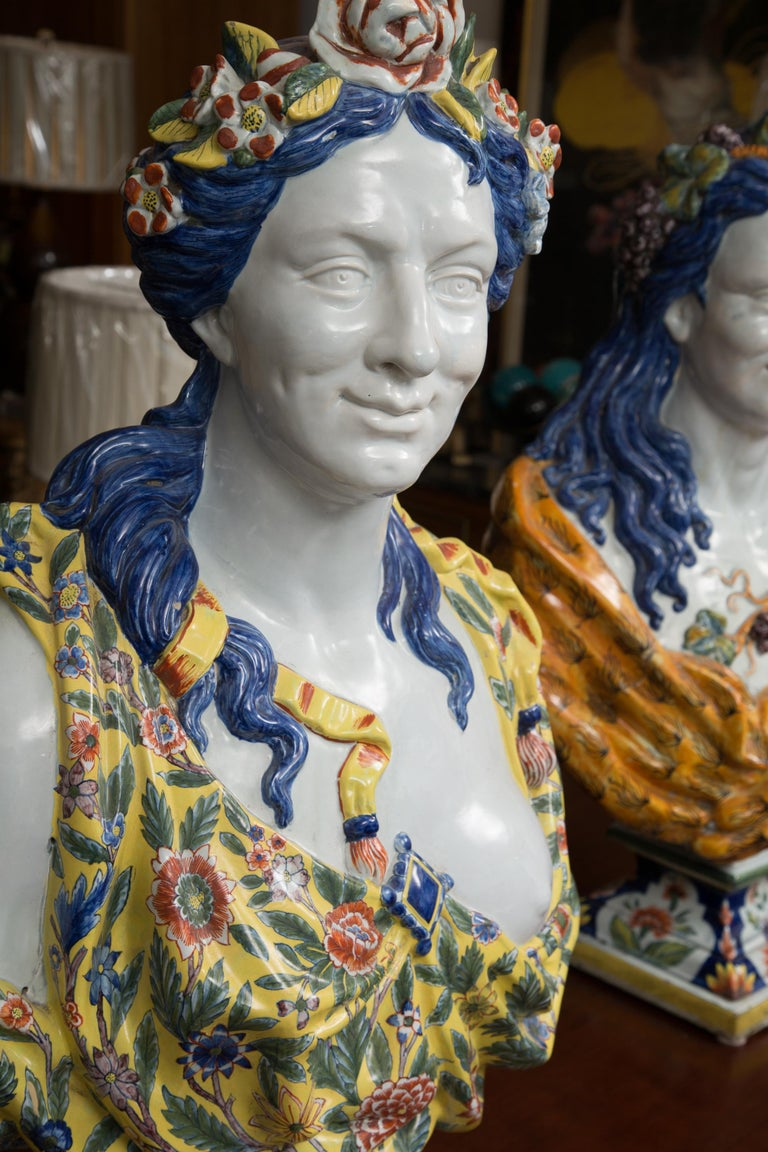 Pair of Italian Majolica Busts 6