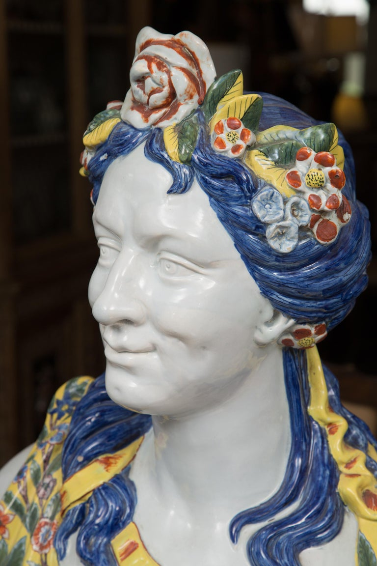 Pair of Italian Majolica Busts 7