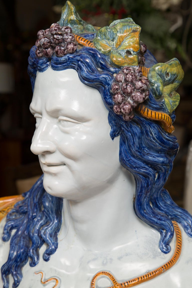 Pair of Italian Majolica Busts 10
