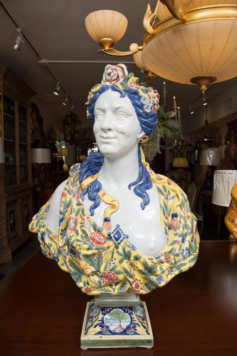 Pair of Italian Majolica Busts 12