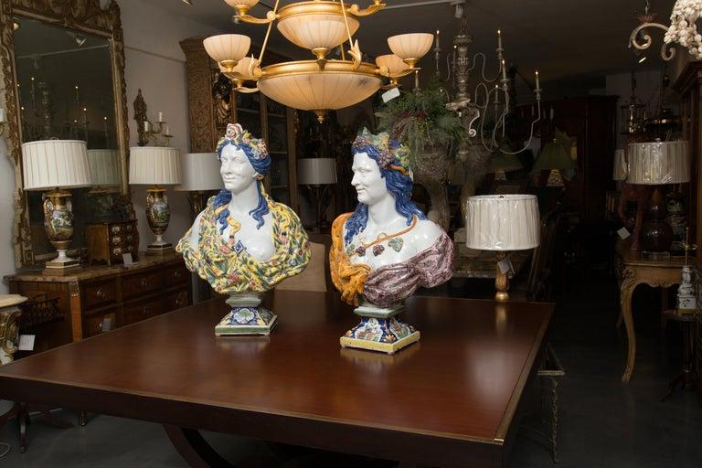 Renaissance Pair of Italian Majolica Busts