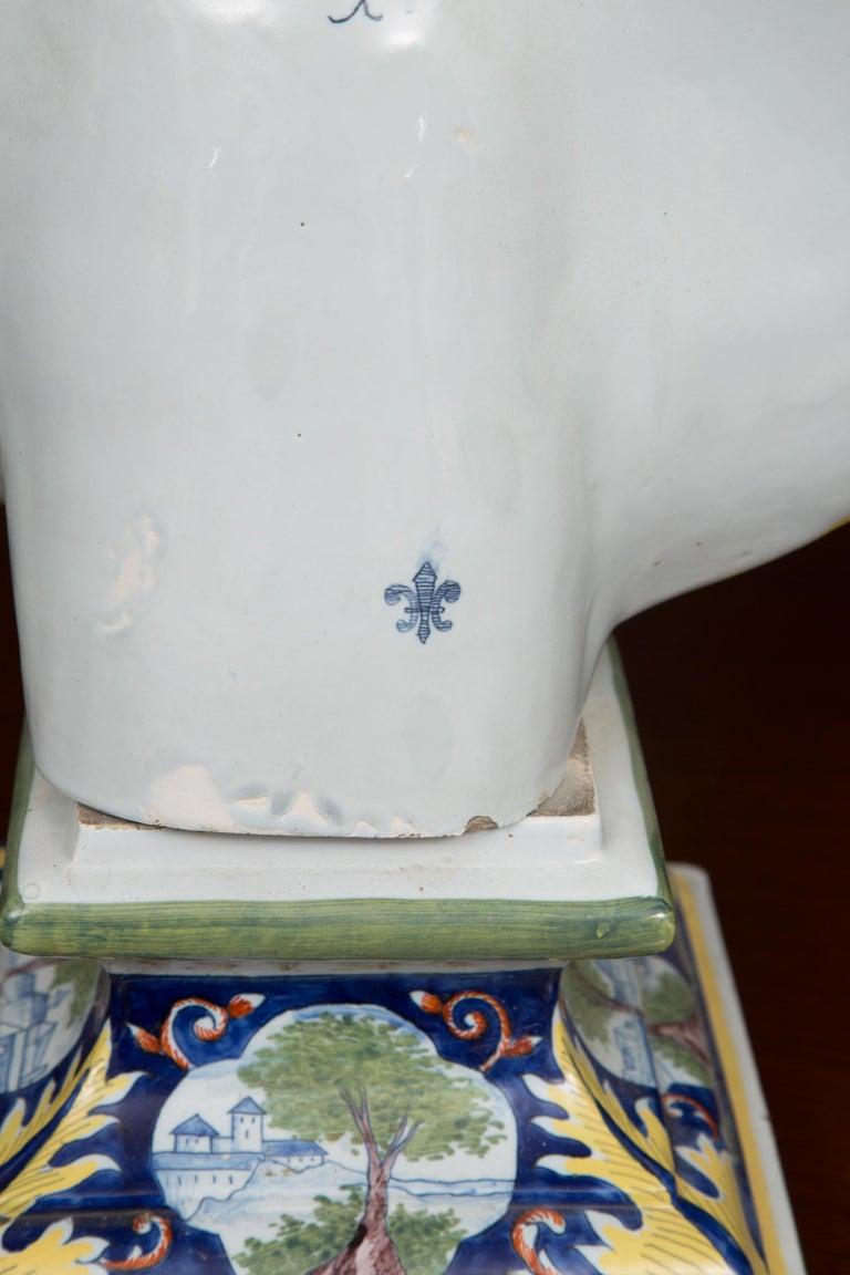 20th Century Pair of Italian Majolica Busts
