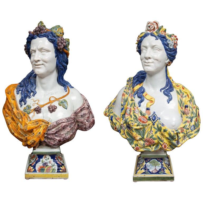 Pair of Italian Majolica Busts