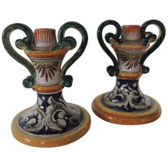 Pair of Italian Majolica Hand Painted Candleholders