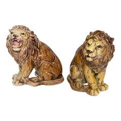 Pair of Italian Majolica Lions