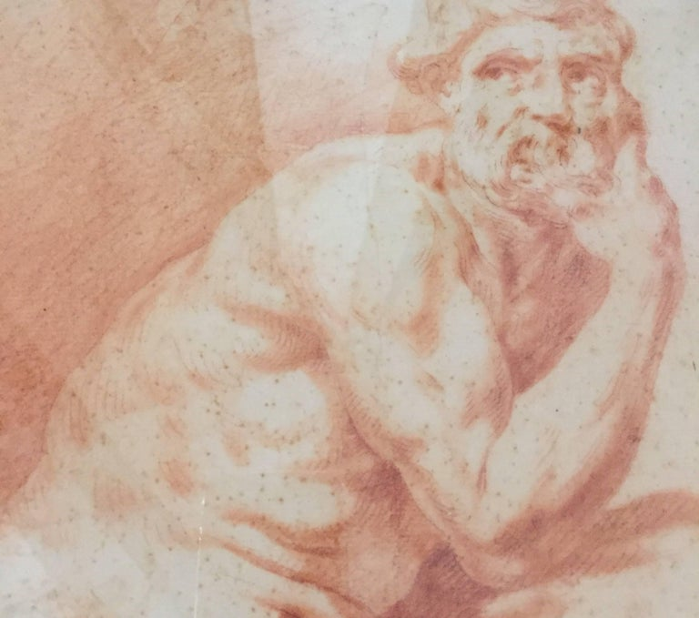 f52a5f998 Pair of Italian Male Nude Sanguine Drawings after Procaccini Late 18th  Century For Sale 14